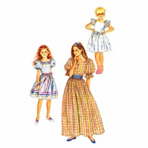1980s Girls Pullover Dress Simplicity 6041 Vintage Sewing Pattern Size 10
