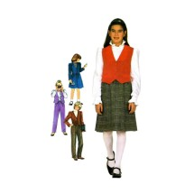 1980s Girls Pants Skirt Jacket Vest Simplicity 6090 Vintage Sewing Pattern Size 7