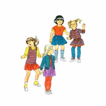 1980s Girls Mini-Skirt Top Cardigan Jacket Hang Ten Simplicity 6093 Vintage Sewing Pattern Size 4 - 5 - 6