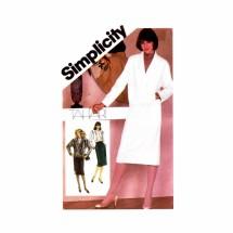 1980s Tahari Slim Skirt Blouse Jacket Suit Simplicity 6106 Vintage Sewing Pattern Size 14 Bust 36