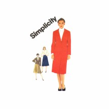 1980s Misses Slim Skirt Blouse Jacket Suit Simplicity 6187 Vintage Sewing Pattern Size 14 Bust 36