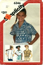 Simplicity 6346 Loose-Fitting Shirts Size 7