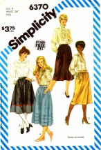 Simplicity 6370 Set of Skirts Size 8 - Waist 24