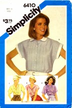 Simplicity 6410 Misses Tucked Shirt Size 10 - Bust 32 1/2