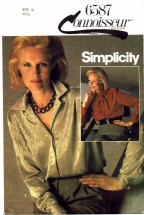 Simplicity 6587 Fly Front Blouse Size 10 - Bust 32 1/2