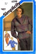 Simplicity 6598 Misses Shirt Size 10 - Bust 32 1/2