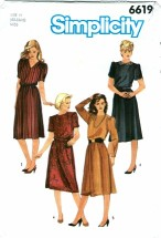 Simplicity 6619 Dress with Neckline & Sleeve Variations Size 6 -10
