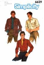 Simplicity 6629 Men's Shirt Chest 38