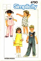 Simplicity 6730 Sewing Pattern Girls Pullover Sundress Jumper Top Pants Size 6