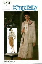 Simplicity 6733 ADOLFO Skirt Blouse Jacket Suit Size 8