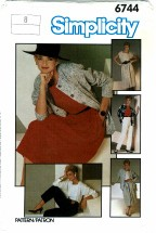 Simplicity 6744 Misses Pants Skirt Jacket Top Size 8