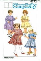 Simplicity 6772 Girls Dress Size 3