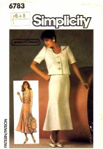 Simplicity 6783 Sewing Pattern Misses Jessica McClintock Camisole Skirt Jacket Size 6 - 8 Simplicity 6783 Sewing Pattern