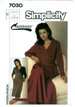 Simplicity 7030 Slim or Half Circle Skirted Dress Size 10 - 14 - Bust 32 1/2 - 36