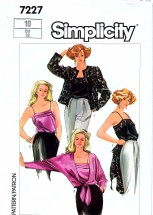 Simplicity 7227 Vintage Sewing Pattern Misses Camisoles Jackets Size 10 Bust 32 1/2