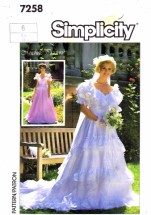 Simplicity 7258 Sewing Pattern Brides Bridesmaids Wedding Dress Gown Size 6 Bust 30 1/2