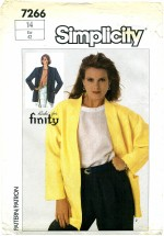 Simplicity 7266 Unlined Jacket Size 14 - Bust 36