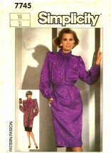 Simplicity 7745 Sewing Pattern Misses Dress Tunic Slim Skirt Size 16 - Bust 38