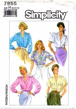 Simplicity 7855 Sewing Pattern Front Button Blouse Size 6 - 10