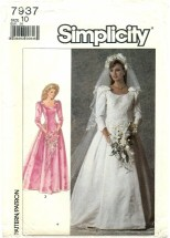 Simplicity 7937 Brides & Bridesmaids Dress Gown & Veil Size 10 - Bust 32 1/2