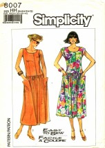 Simplicity 8007 Scoop Neck Drop Waist Dress Size 6 - 12