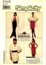 Simplicity 8345 Skirt Pants Camisole Jacket Size 14 - Bust 36