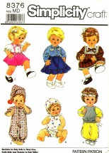 Simplicity 8376 Sewing Pattern Tiny Tears Baby Dolls Wardrobe