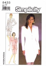 Simplicity 8433 Semi-Fitted Suit with Lined Jacket Size 12 - Bust 34
