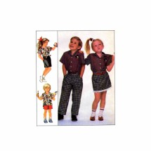 Girls or Boys Shirt Pants Shorts Skirt Simplicity 8464 Sewing Pattern Size 4 - 5 - 6