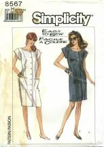 Simplicity 8567 Front Button Dress Size 6 - 10 - Bust 30 1/2 - 32 1/2