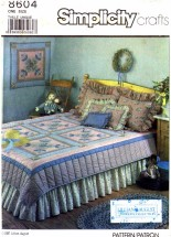 Simplicity 8604 Sewing Pattern Quilt Dust Ruffle Pillow Shams Covers