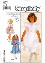 Simplicity 8711 Sewing Pattern Jessica McClintock Girls Dress Size 5