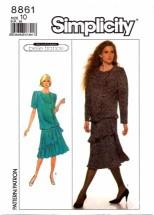 Simplicity 8861 Asymmetrical Peplum Dress Size 10 - Bust 32 1/2