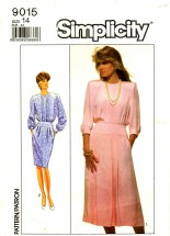 Simplicity 9015 Sewing Pattern Misses Dress Pleats Size 14
