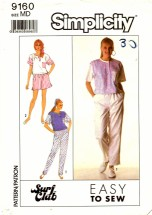Simplicity 9160 Surf Club Pants Shorts Top Size 14 - 16 - Bust 36 - 38