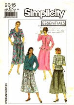 Simplicity 9315 Sewing Pattern Two-Piece Dress Size 8 - 14 - Bust 31 1/2 - 36