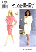 Simplicity 7010 Misses Suit-Dress Sewing Pattern Size 4 - 14 Bust 29 1/2 - 36