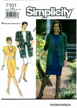 Simplicity 7101 Misses Dress & Jacket Size 6 - 14 - Bust 30 1/2 - 36