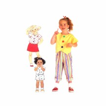 Girls Skirt Pants Shorts Tops Simplicity 9639 Vintage Sewing Pattern Size 3 - 4 - 5 - 6 - 6X