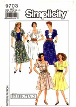Simplicity 9703 Sewing Pattern Pullover Dress Tucks Square Neck Size 6 - 14