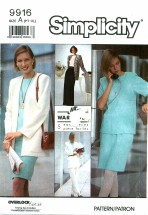 Simplicity 9916 Sewing Pattern Misses Jiffy Wardrobe Skirt Pants Top Jacket Belt Size 6 - 24 - Bust 30 1/2 - 46