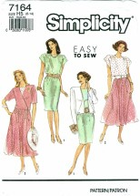 Simplicity 7164 Misses Full or Slim Skirt Dress & Jacket Size 6 - 14
