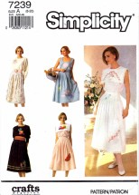 Simplicity 7239 Sewing Pattern Embroidered Skirt Tops Size 8 - 20