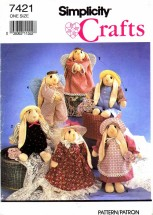 Simplicity 7421 Crafts Sewing Pattern Sock Bunny & Clothes