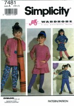 Simplicity 7481 Girls Knit Pants Skirt Tunic Top Size 3 - 6X