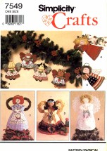Simplicity 7549 Crafts Sewing Pattern Christmas Raggedy Ann Angel Tree Topper Standing Decoration Ornaments