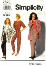 Simplicity 7579 Pants Top Jacket Size 6 - 24 - Bust 30 1/2 - 46