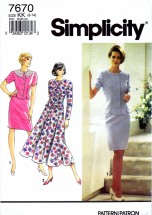 Simplicity 7670 Sewing Pattern Dress Slim Flared Skirt Size 8 - 14
