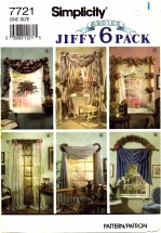 Simplicity 7721 Sewing Pattern Window Treatments Swags Panels Jabots Bows Rosettes