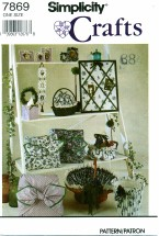 Simplicity 7869 Crafts Picture Frames Tissue Box Cover Pillow Baskets